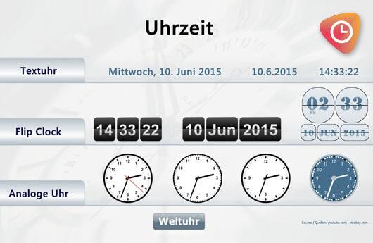 DSSHOW - Digital Signage Software - Uhrzeit